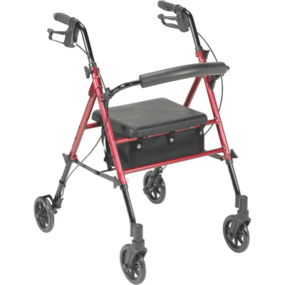 Adjustable Height, Aluminum Rollator With 6u2033 Casters